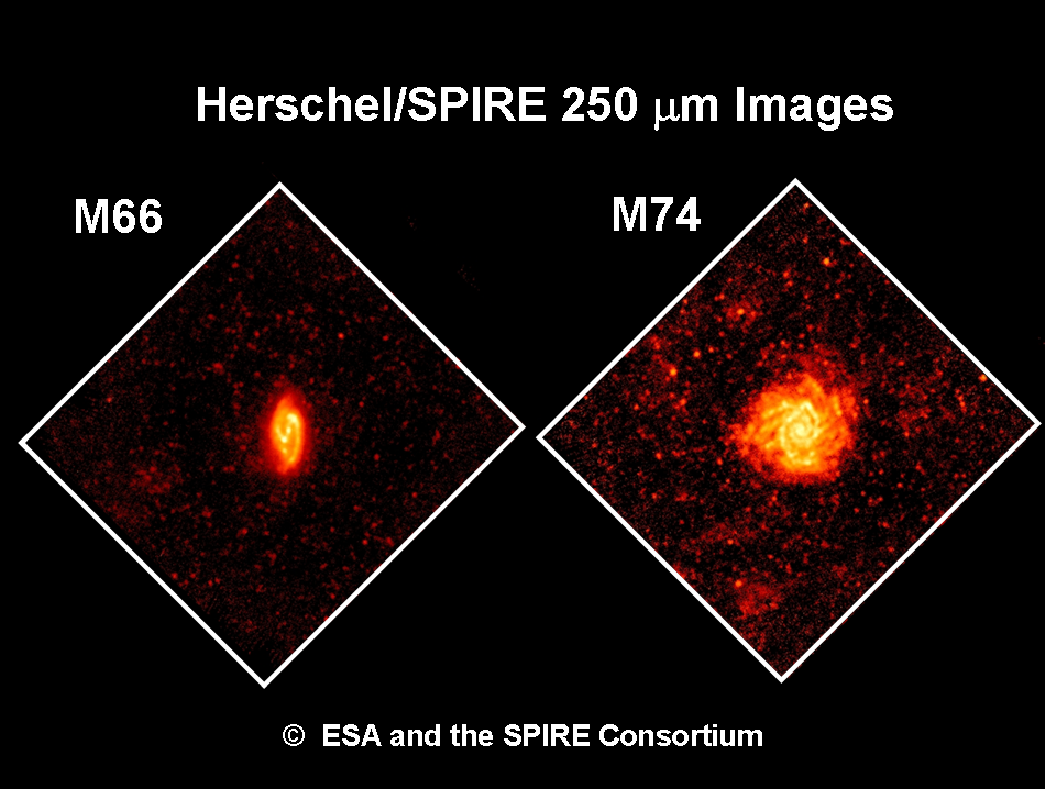 Herschel/SPIRE 250µm images of M66 and M74 galaxies