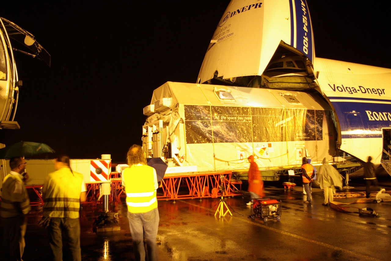 Herschel arriving at Cayenne-Rochambeau Airport (French Guiana)
