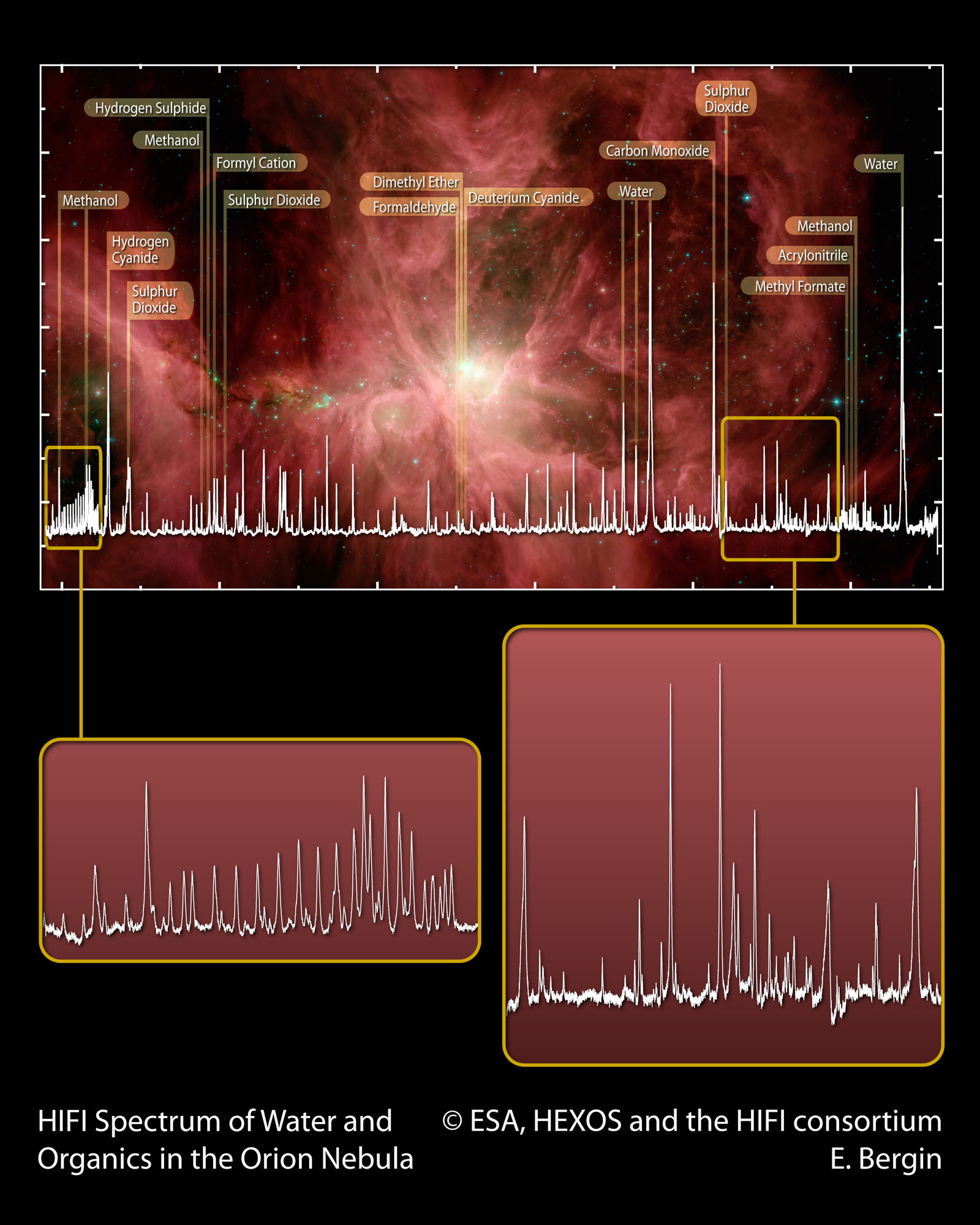 HIFI spectral scan of Orion (blowouts)