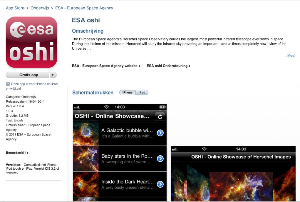 ESA OSHI app for iPhone, iPod touch and iPad on the iTunes App Store