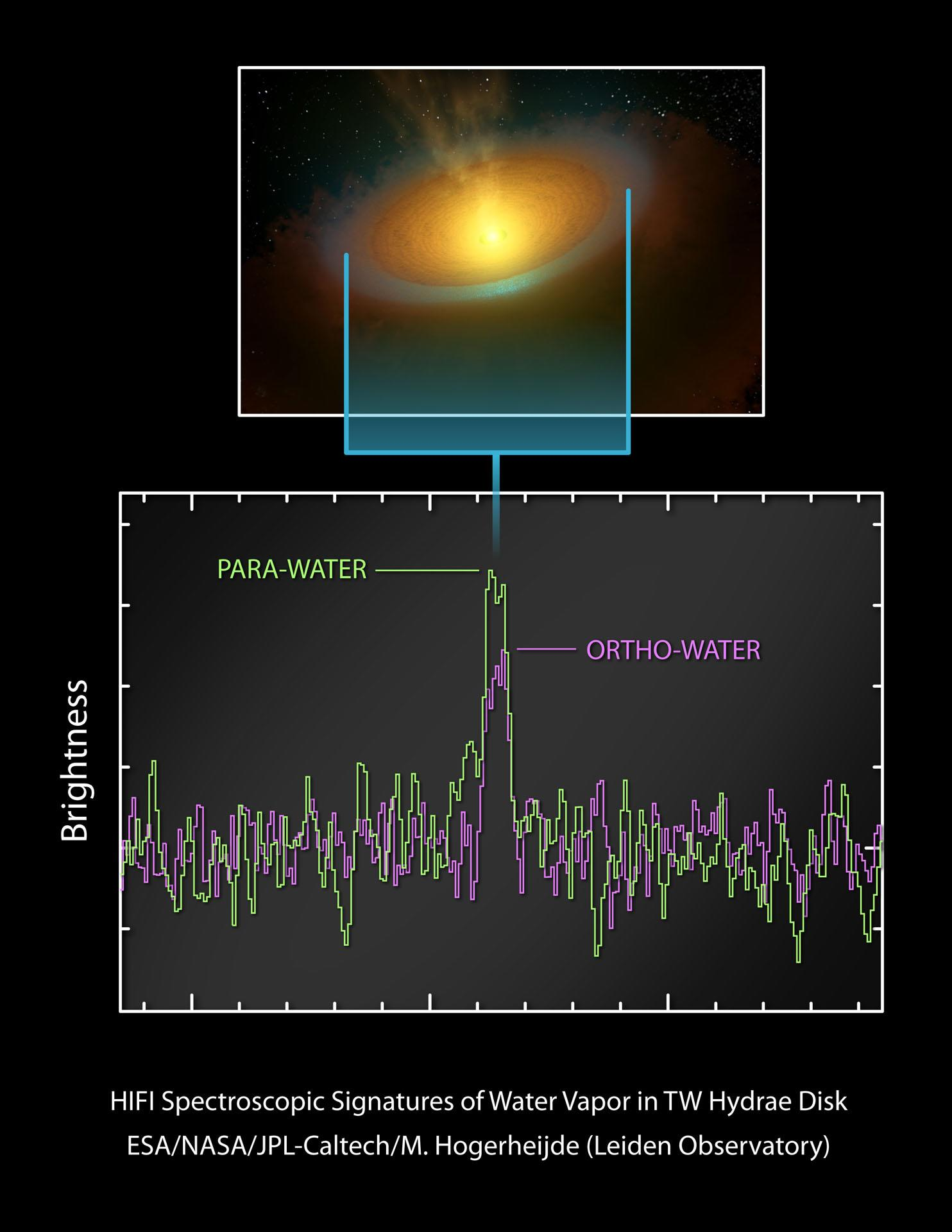 Artist's impression and spectrum of the TW Hydrae protoplanetary disc. Copyright: ESA/NASA/JPL-Caltech/M. Hogerheijde (Leiden Observatory)