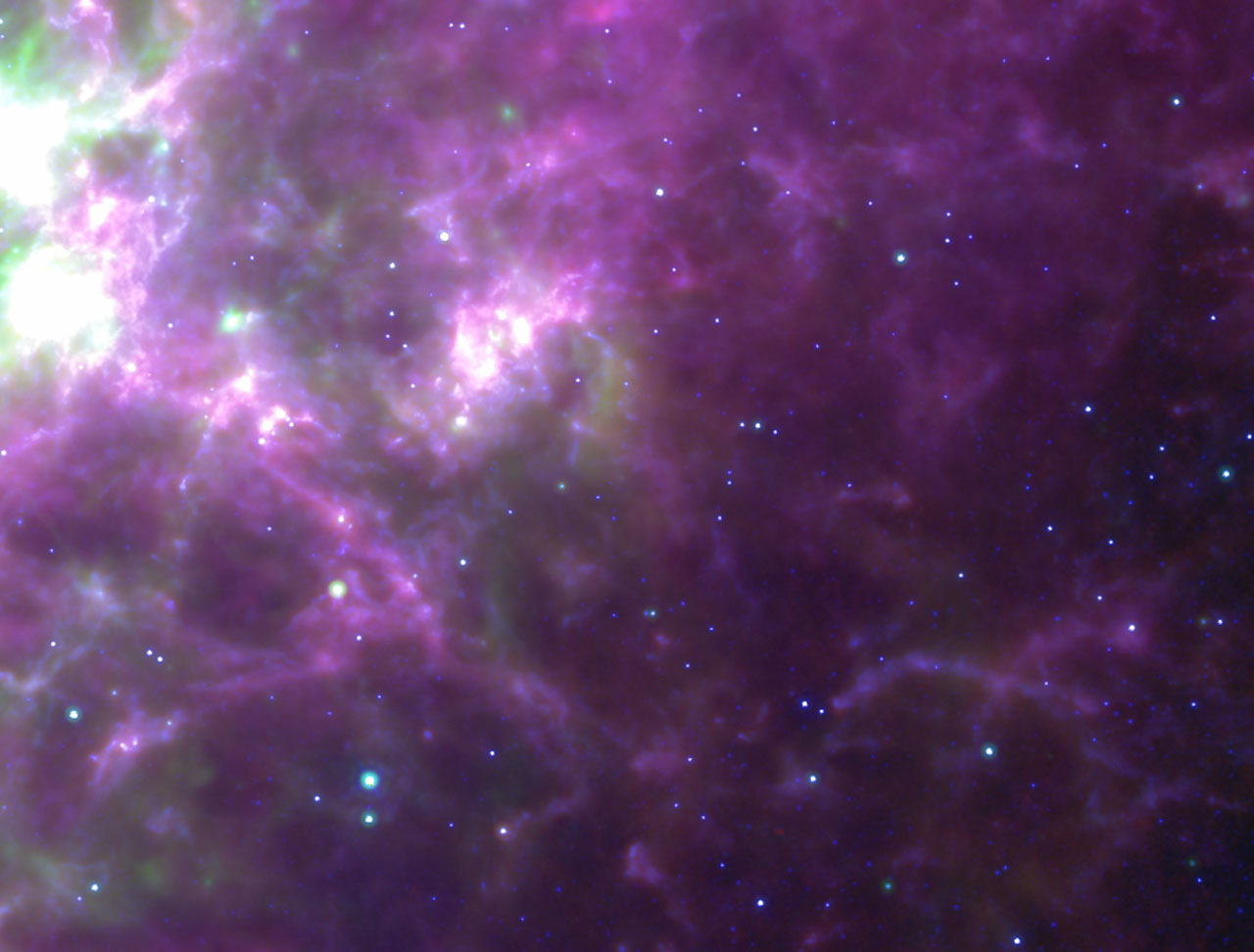 Spitzer/IRAC/MIPS and Herschel/SPIRE composites of SN1987A remnant in the Large Magellanic Cloud (Courtesy HERITAGE)