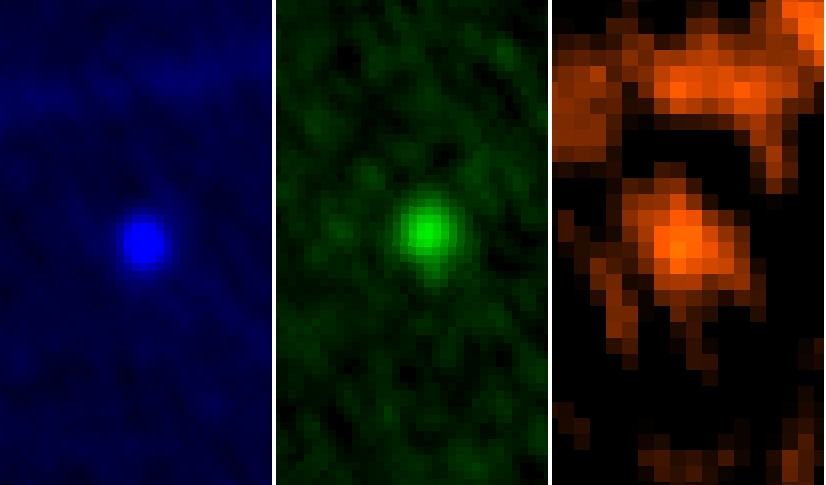 Herschel's three-colour view of asteroid Apophis. Credit: ESA/Herschel/PACS/MACH-11/MPE/B.Altieri (ESAC) and C. Kiss (Konkoly Observatory)