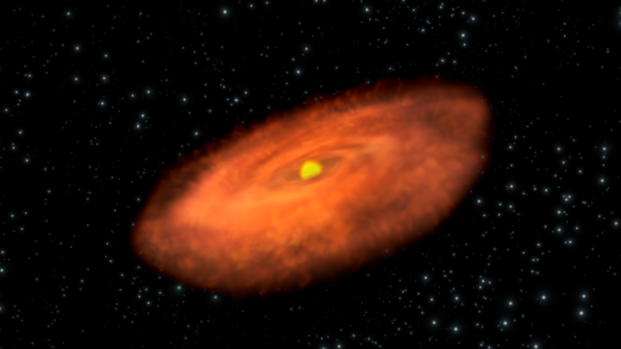 Artist's impression of the protoplanetary disc around TW Hydrae. Credit: ESA - C. Carreau
