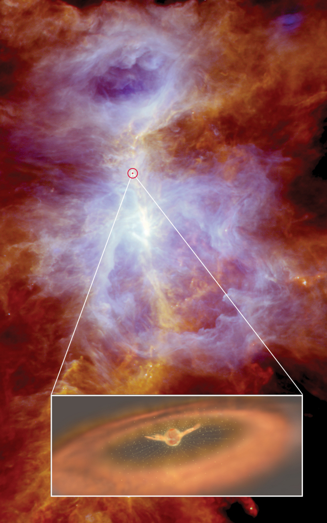Violent wind gusting around protostar in Orion. Copyright: Herschel image: ESA/Herschel/Ph. André, D. Polychroni, A. Roy, V. Könyves, N. Schneider for the Gould Belt survey Key Programme; inset and layout: ESA/ATG medialab