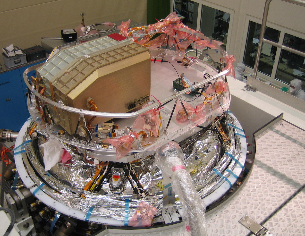 SPIRE focal plane unit being integrated onto the Herschel optical bench in Astrium in April 2007