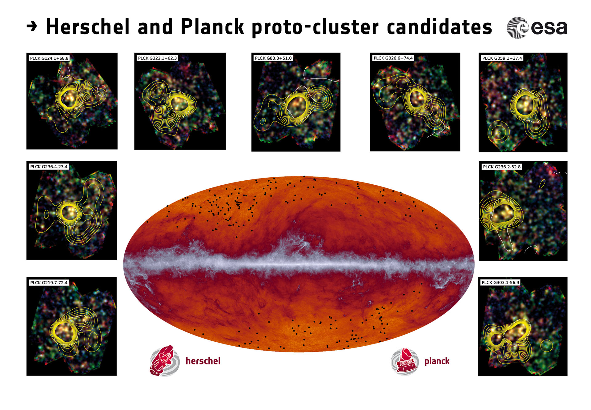 Proto-cluster candidates. Copyright ESA and the Planck Collaboration/ H. Dole, D. Guéry & G. Hurier, IAS/University Paris-Sud/CNRS/CNES